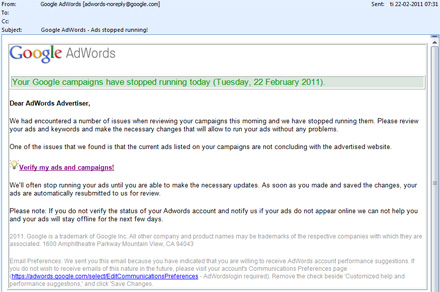 Adwords Phishing mail