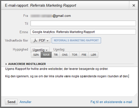 E-mail rapporten automatisk